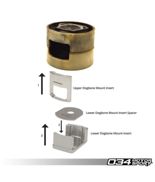 BILLET ALUMINUM UPPER DOGBONE MOUNT INSERT, MKV/MKVI VOLKSWAGEN GOLF/GTI/R/JETTA/GLI AND 8P AUDI A3/S3 & 8J AUDI TT/TTS/TTRS